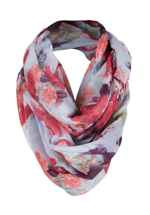 Ladies' Floral Infinity Scarf, BRIGHT RED, hi-res