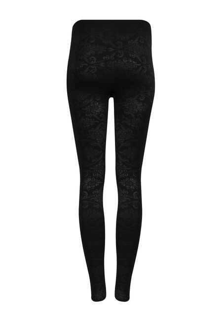 Ladies' Floral Plush Legging, BLACK, hi-res