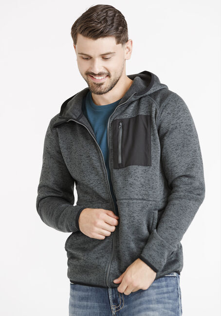 Men's Sweater Knit Zip Front Hoodie, ASH, hi-res