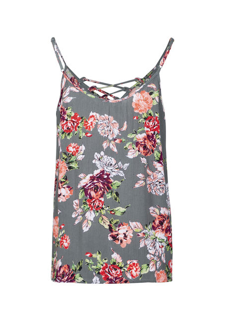 Women's Floral Lace Up Tank, OLIVE, hi-res