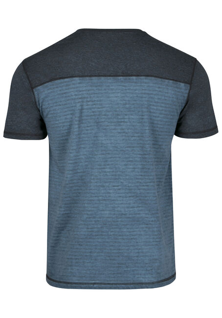Men's Colour Block Stripe Tee, BLUE STEEL, hi-res