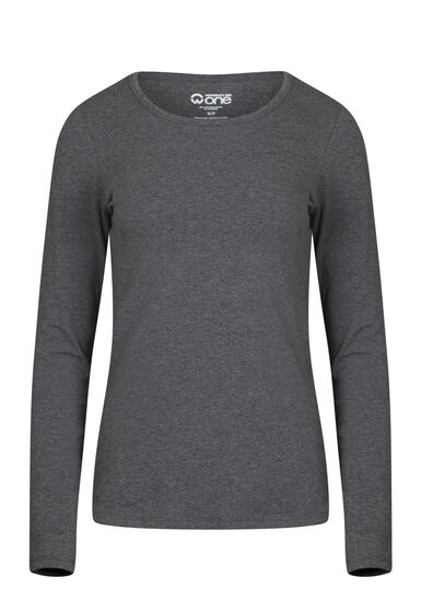 Women's Long Sleeve Tee, CHARCOAL, hi-res