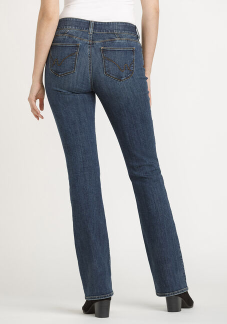 Women's 2 Button Baby Boot Jeans, DARK WASH, hi-res