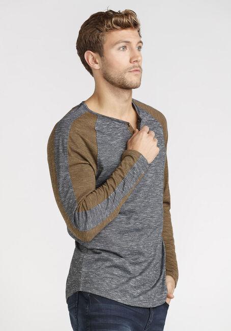 Men's Henley Sleeve Stripe Tee