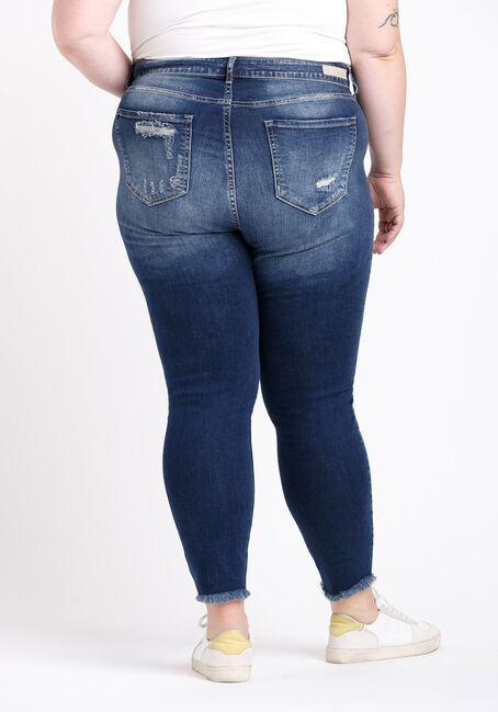 Women's Plus Size High Rise Distress Crop Skinny Jeans, DARK WASH, hi-res