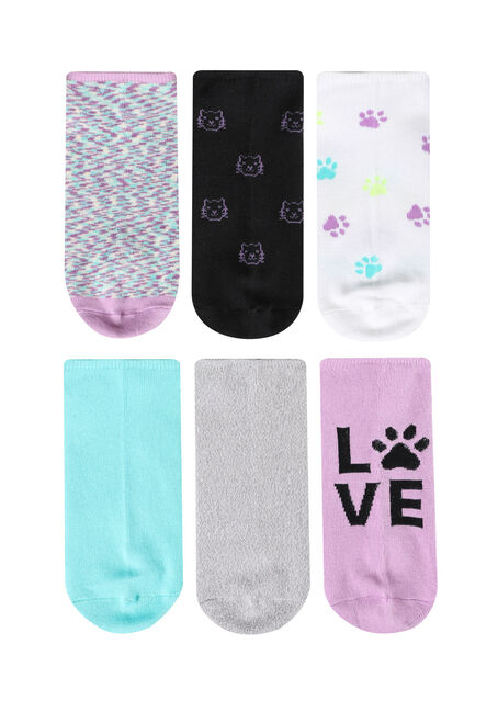 Women's 6 Pair Cat Socks, LILAC, hi-res