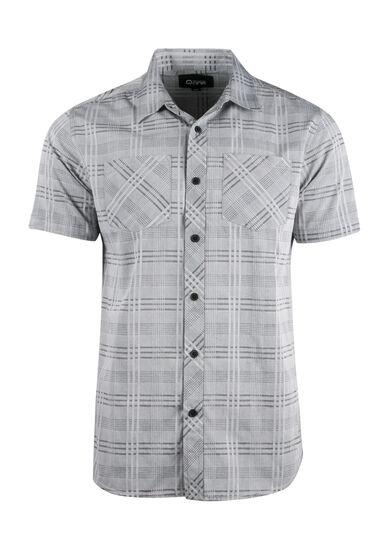 Men's Relaxed Tonal Plaid Shirt, CHARCOAL, hi-res