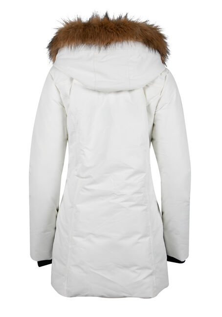 Ladies' Quilted Parka, WHITE, hi-res
