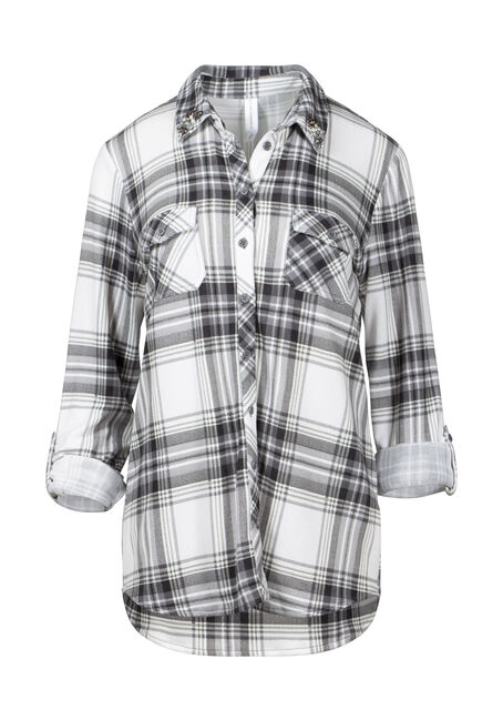 Women's Beaded Collar Relaxed Fit Knit Plaid Shirt