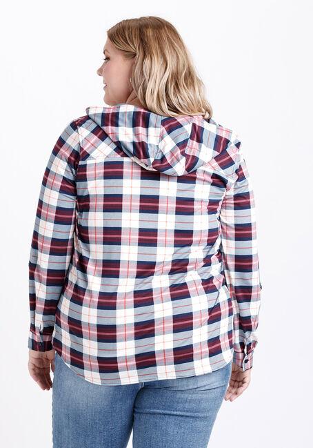 Women's Hooded Knit Plaid Shirt, BURGUNDY, hi-res