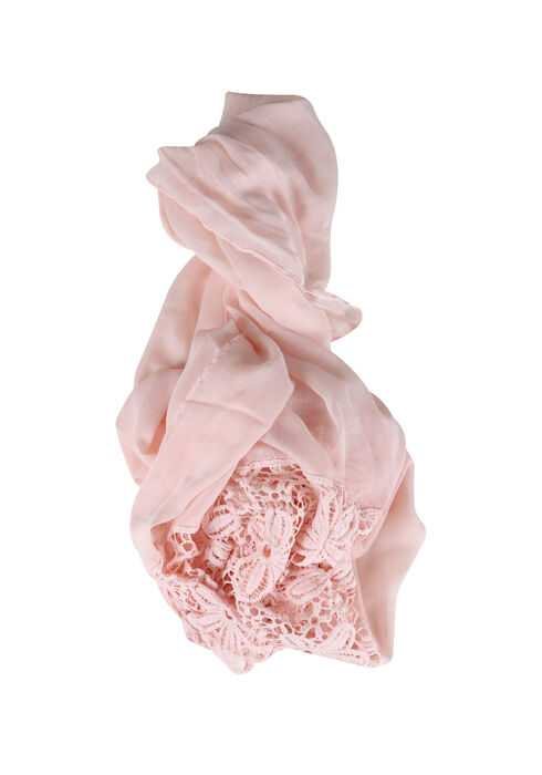 Women's Lace Insert Infinity Scarf, PINK, hi-res