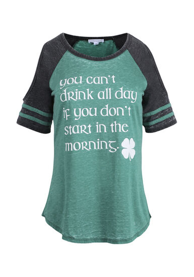 Women's St. Paddy's Cold Shoulder Tee, GREEN/BLACK, hi-res
