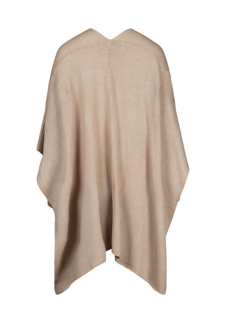 Women's Poncho, NATURAL, hi-res