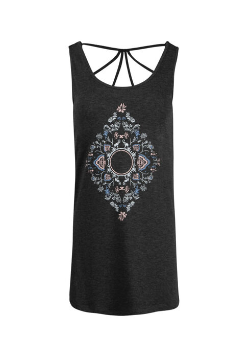 Women's Scroll Diamond Cage Back Tank, CHARCOAL, hi-res