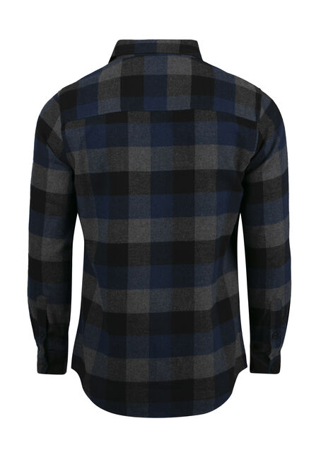 Men's Plaid Flannel Shirt, ROYAL BLUE, hi-res