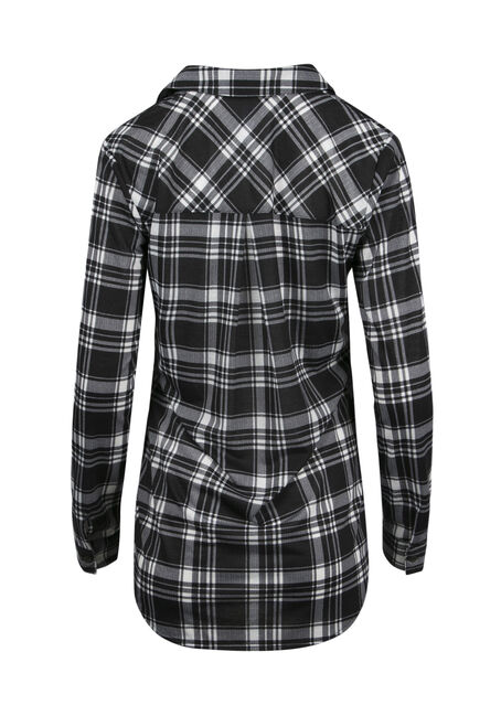 Ladies' Lace Up Knit Plaid Shirt, BLK/WHT, hi-res