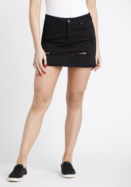 Women's Ripped Black Denim Skirt