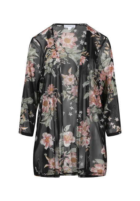 Women's Floral Mesh Kimono