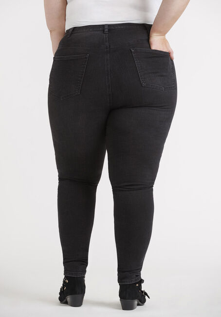 Women's Plus Size Black High Rise Exposed Button Skinny Jeans, BLACK, hi-res
