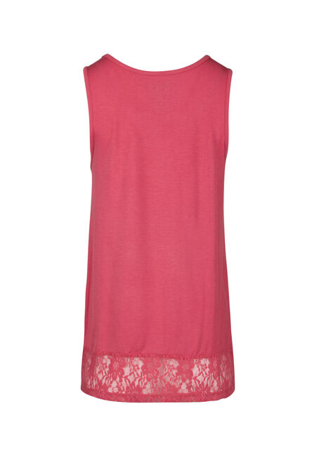 Ladies' Cage Neck Lace Hem Tank, CORAL, hi-res
