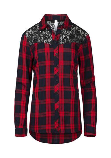 Women's Buffalo Plaid Lace Trim Shirt, RED, hi-res