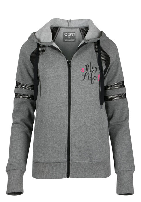 Ladies' Mom Life Mesh Hoodie, HEATHER GREY, hi-res