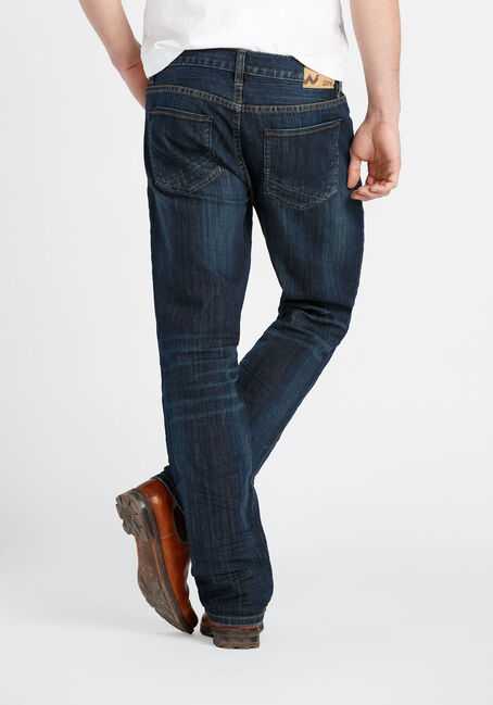 Men's Dark Wash Slim Straight Jeans, DARK WASH, hi-res