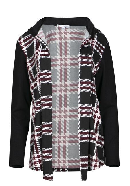 Women's Plaid Wrap With Hacci Sleeves, BURGUNDY, hi-res
