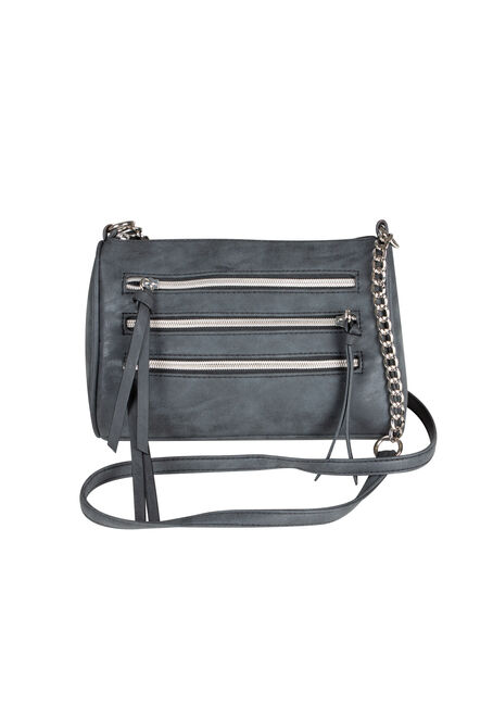 Ladies' Triple Zipper Cross Body Bag