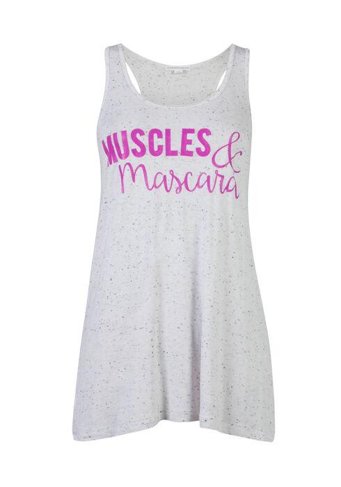 Ladies' Muscles & Mascara Tank, WHITE, hi-res