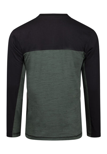 Men's Colour Block Henley, AMAZON, hi-res