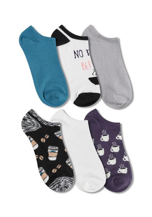 Ladies' 6 Pair Coffee Socks, MULTI, hi-res