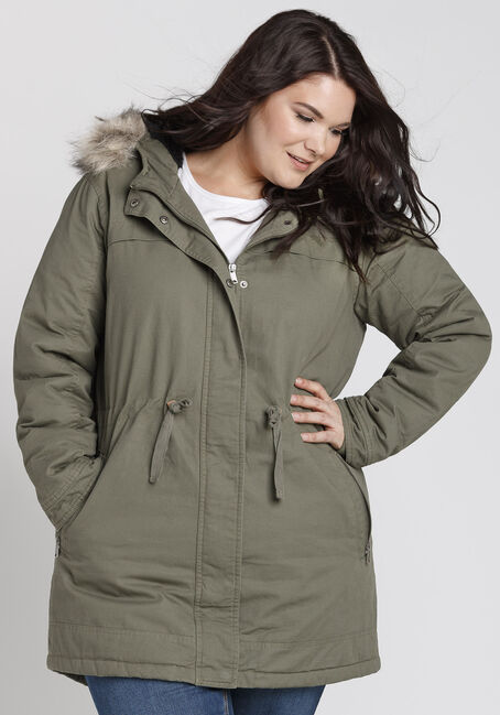 Ladies' Plus Size Utility Parka, OLIVE, hi-res