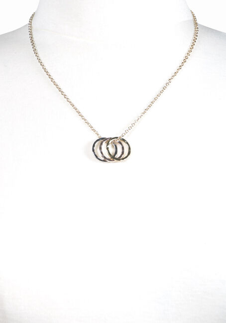 Women's Trio Rings Necklace, MIXED METALS, hi-res