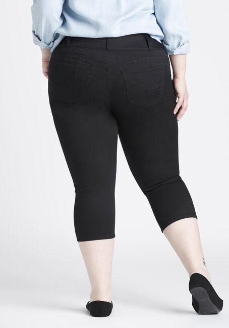 Ladies' Plus Size Skinny Capri, BLACK, hi-res