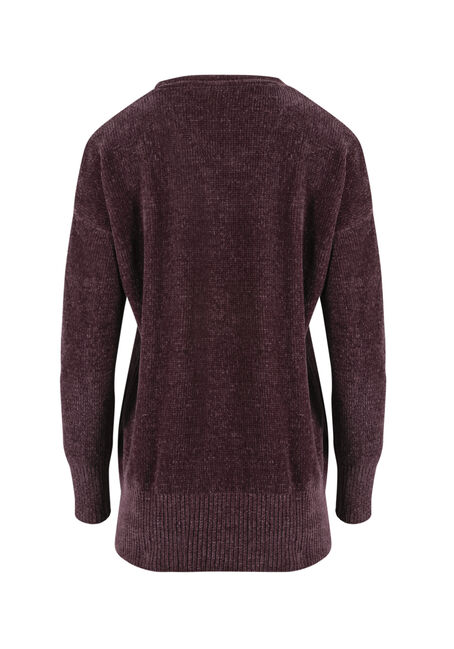Ladies' Chenille Sweater, EGGPLANT, hi-res