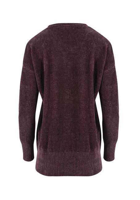 Women's Chenille Sweater, EGGPLANT, hi-res
