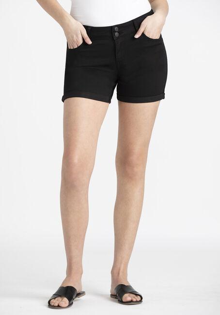 Women's 2 Button Black Cuffed Midi Short