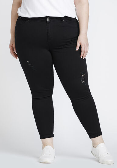 Women's Plus Size Distressed Skinny Crop, BLACK, hi-res