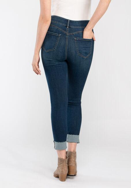 Women's 2 Button High Rise Cuffed Skinny Crop, DARK WASH, hi-res