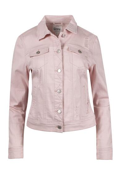 Women's Pink Distressed Jean Jacket, PINK, hi-res