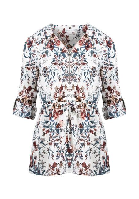 Women's Floral Zip Front Blouse