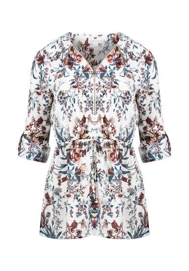 Women's Floral Zip Front Blouse, WINTER WHITE, hi-res