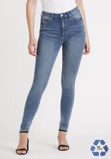 Women's Power Sculpt High Rise Med Wash Skinny Jeans, MEDIUM WASH, hi-res