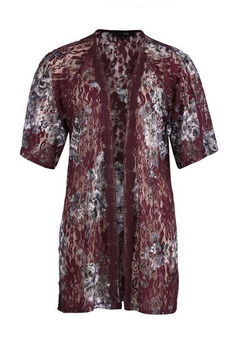 Ladies' Lace Kimono, BURGUNDY, hi-res