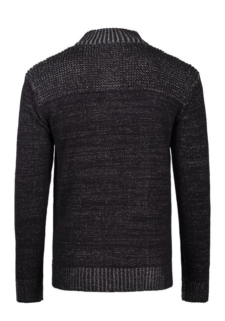 Men's Henley Sweater, BLACK, hi-res