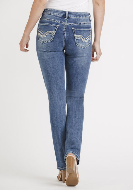 Women's Med Wash Straight Jeans, MEDIUM WASH, hi-res