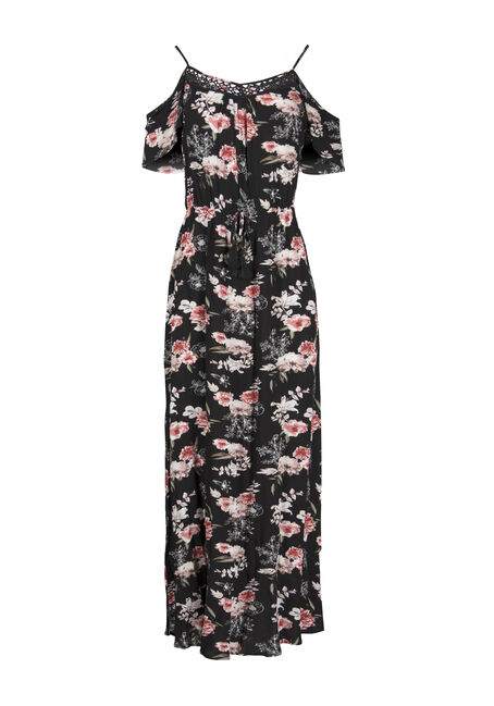 Women's Floral Cold Shoulder Maxi Dress