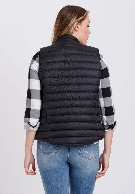 Women's Puffer Vest, BLACK, hi-res