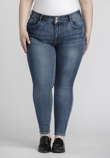 Women's Plus Size Stacked Button Mid Wash Skinny Jeans, MEDIUM WASH, hi-res